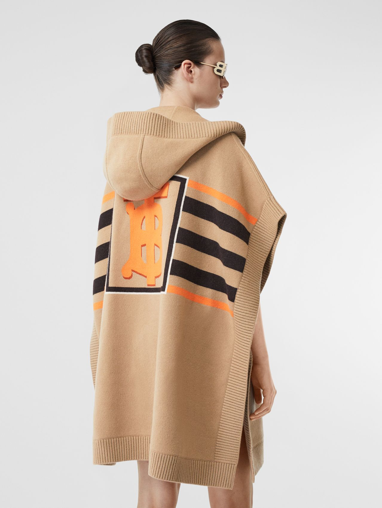 Monogram Motif Intarsia Wool Cashmere Blend Cape in Archive Beige