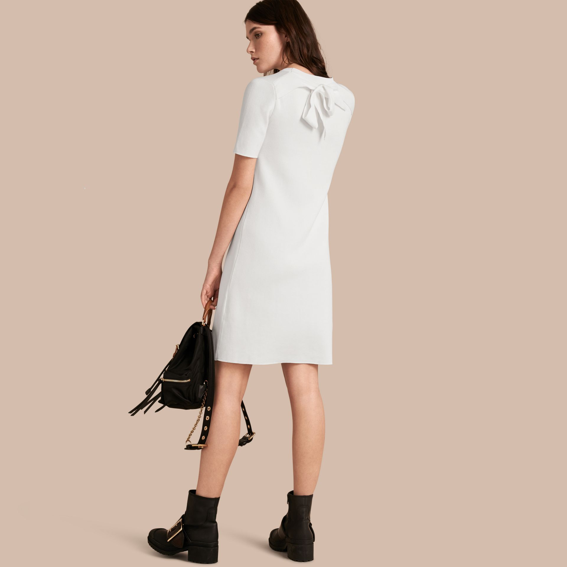 Natural white A-lIne Cotton Piqué Dress with Bow Detail - gallery image 1