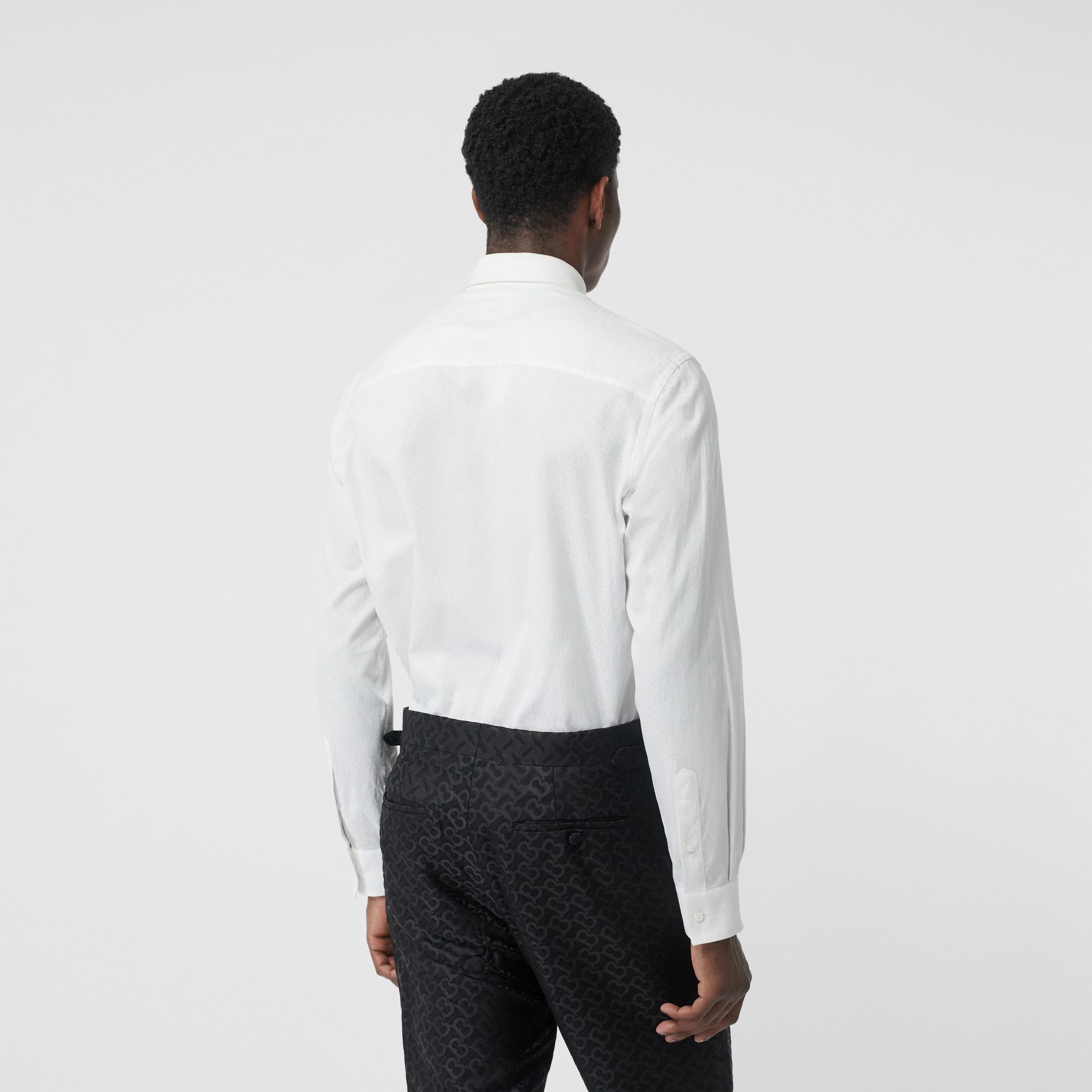 Classic Fit Monogram Cotton Jacquard Shirt in White - Men | Burberry - gallery image 2