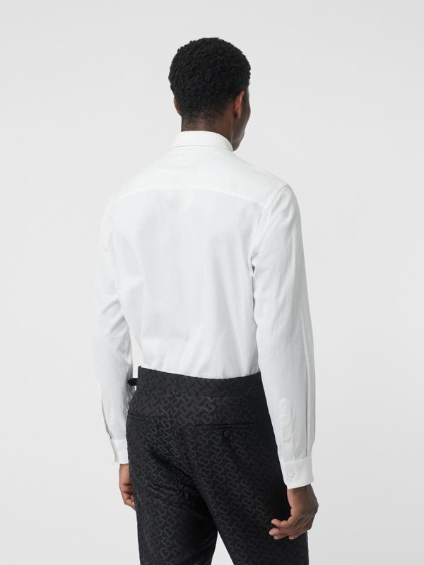 Classic Fit Monogram Cotton Jacquard Shirt in White - Men | Burberry Canada - cell image 2