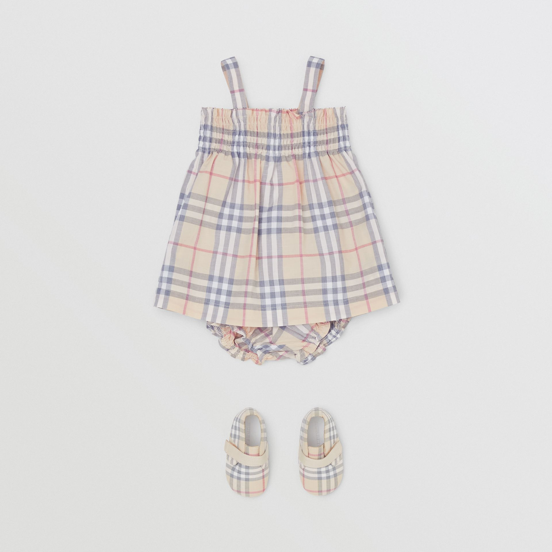 Smocked Check Cotton Dress with Bloomers in Pale Stone - Children | Burberry United Kingdom - gallery image 2