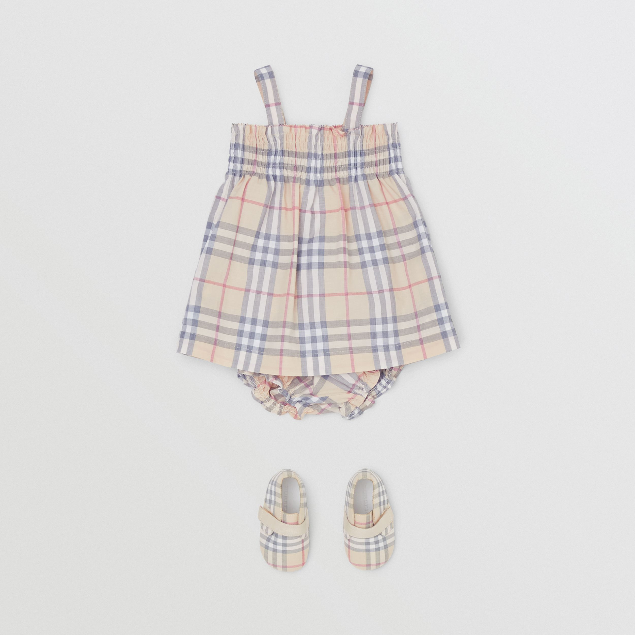 Smocked Check Cotton Dress with Bloomers in Pale Stone - Children | Burberry - 3