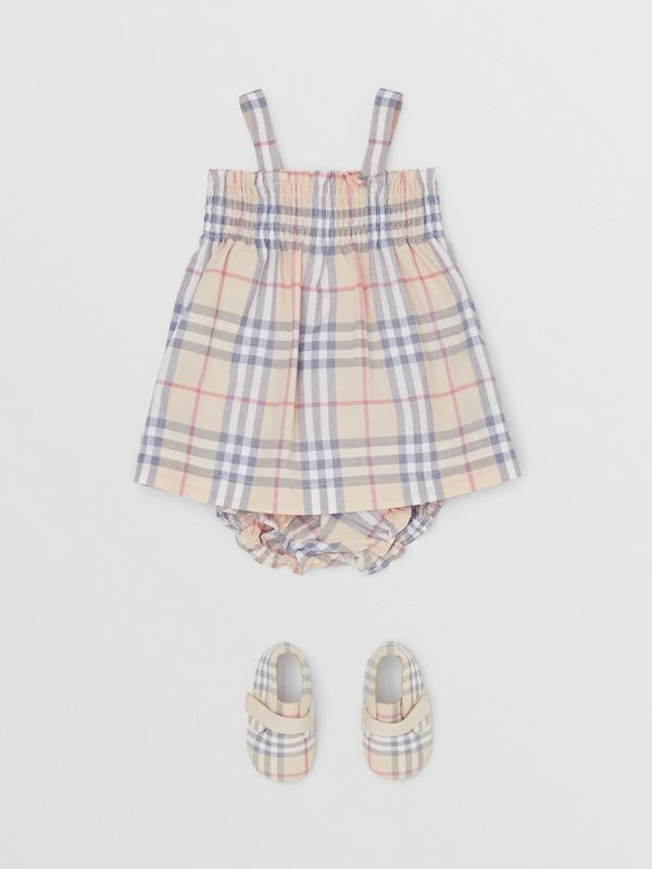 Smocked Check Cotton Dress with Bloomers in Pale Stone - Children | Burberry United Kingdom - cell image 2