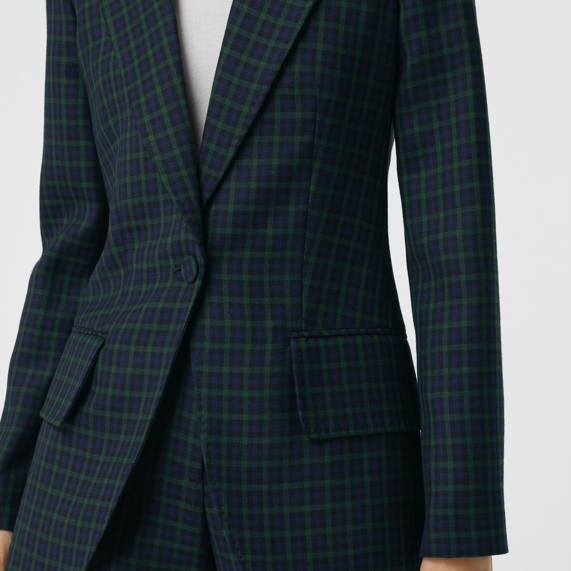 Check Stretch Wool Blazer in Navy - Women | Burberry United Kingdom - gallery image 1