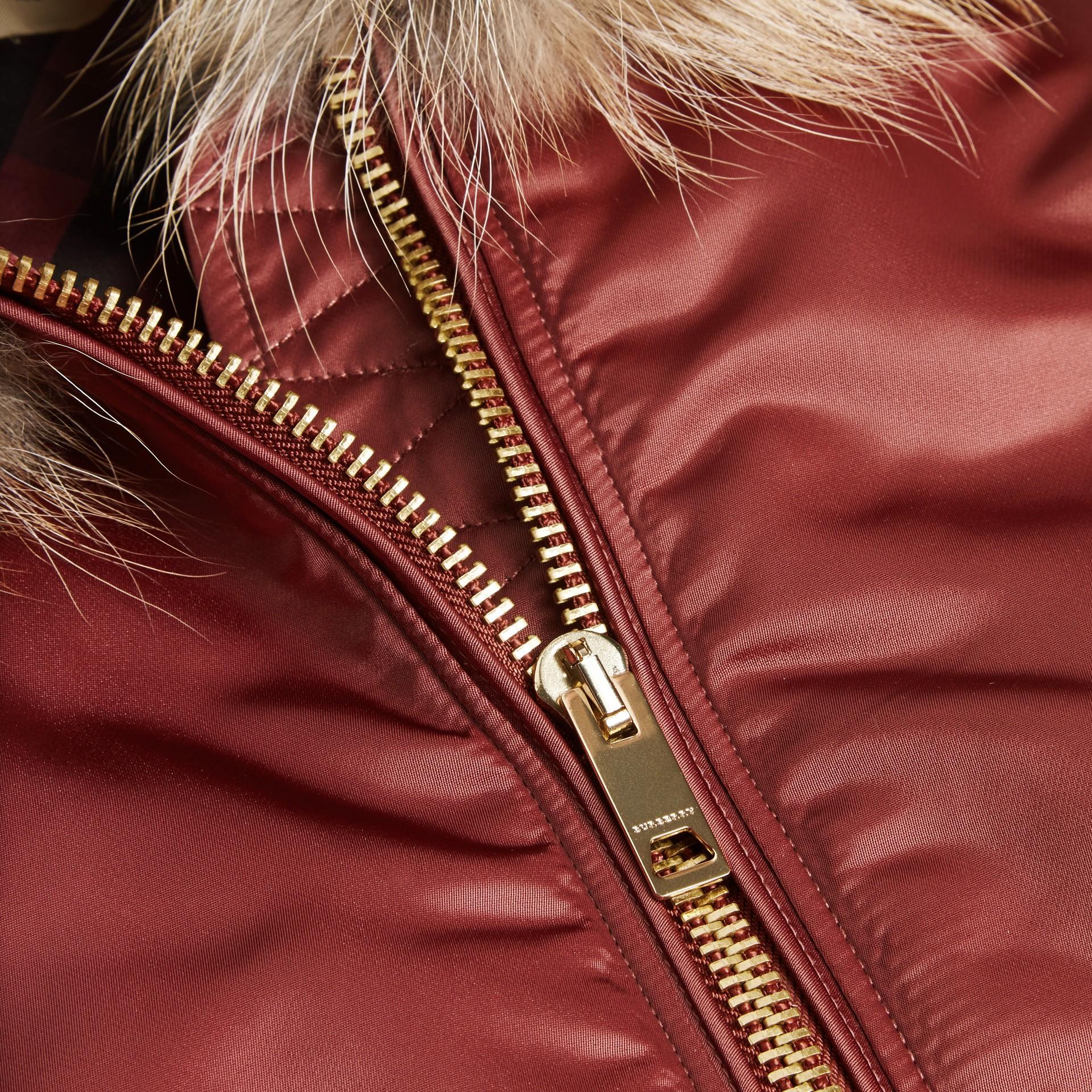 Antique rose Long-line Satin Bomber Jacket with Fur-trimmed Hood Antique Rose - gallery image 2
