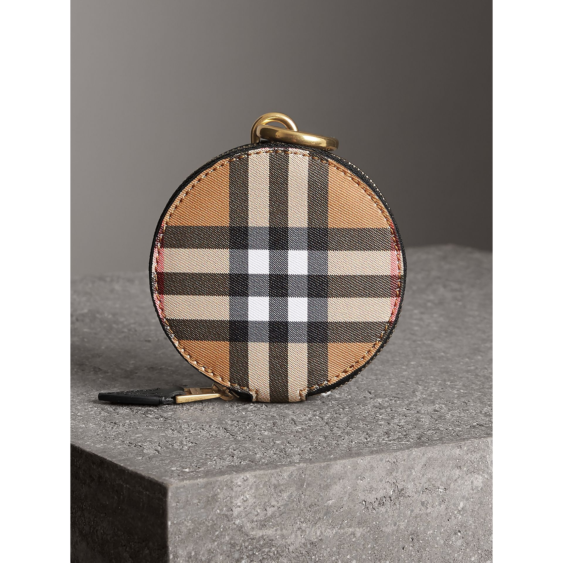 Vintage Check and Leather Coin Case in Black - Women | Burberry United Kingdom - gallery image 4