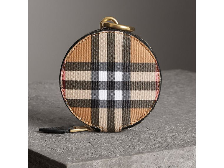 Vintage Check and Leather Coin Case in Black - Women | Burberry United Kingdom - cell image 4