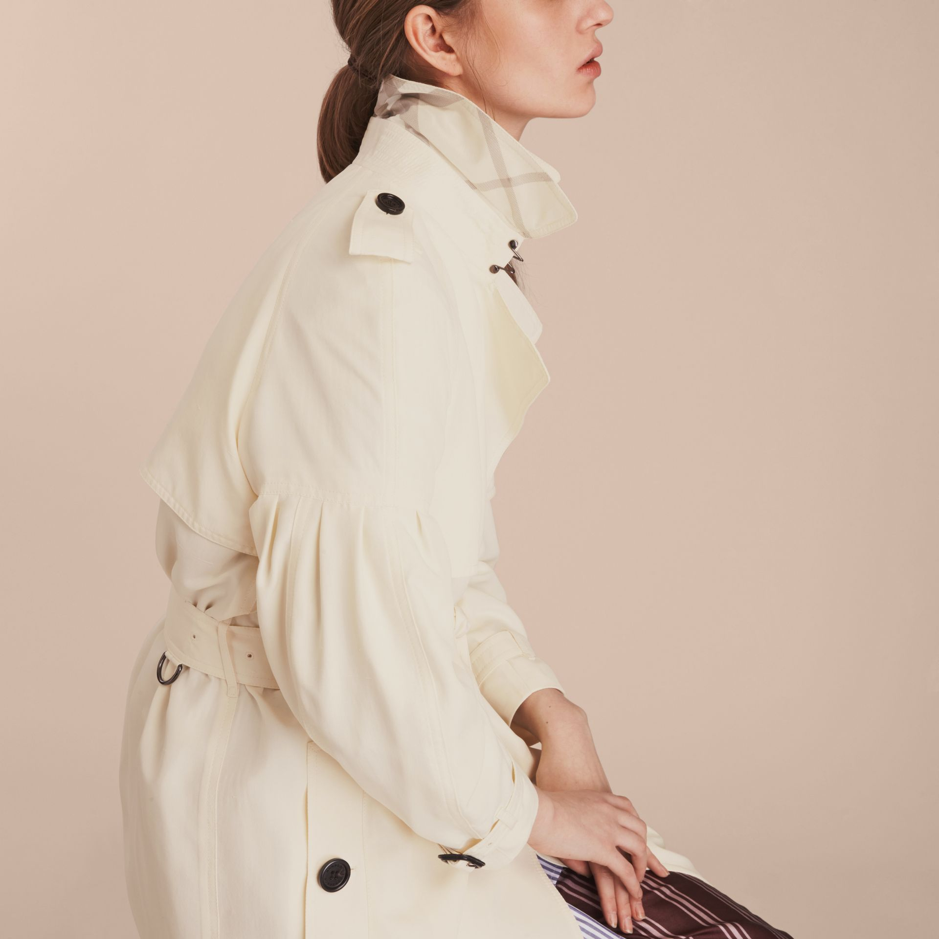 Oversize Silk Trench Coat with Puff Sleeves in Parchment - gallery image 5