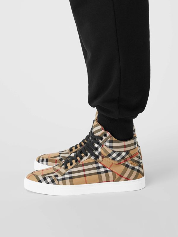 Vintage Check Cotton High-top Sneakers in Antique Yellow - Men | Burberry - cell image 2