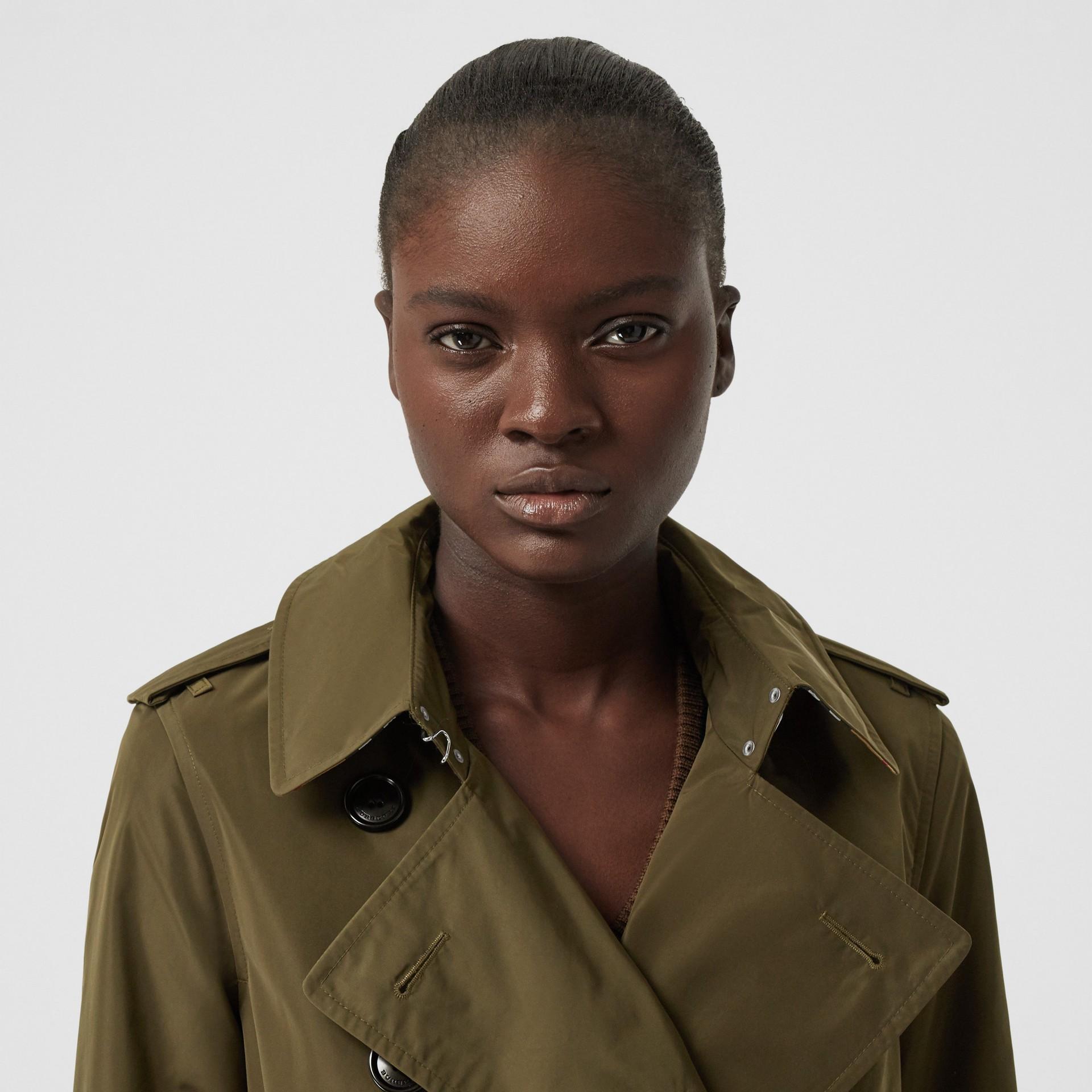 Detachable Hood Shape-memory Taffeta Trench Coat in Khaki - Women   Burberry United Kingdom - gallery image 1