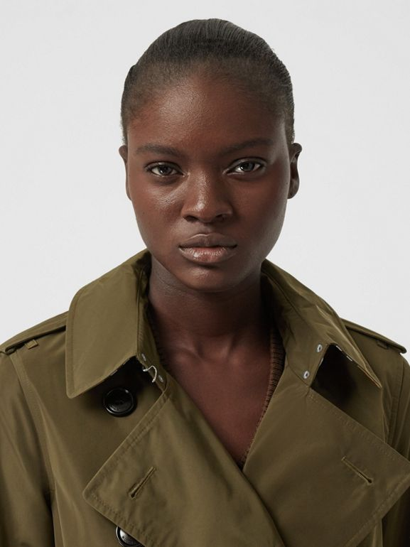 Detachable Hood Shape-memory Taffeta Trench Coat in Khaki - Women   Burberry United Kingdom - cell image 1
