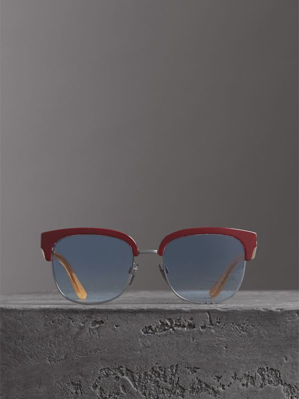 Check Detail D-frame Sunglasses in Burgundy - Men | Burberry Singapore - cell image 2