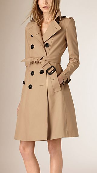 Tapered Waist Cotton Gabardine Trench Coat