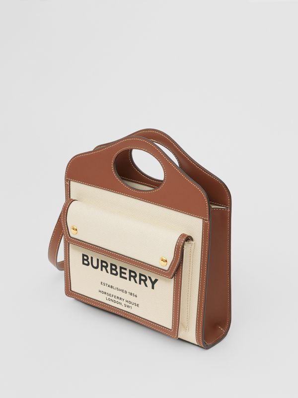 Mini Two-tone Canvas and Leather Pocket Bag in Natural/malt Brown - Women | Burberry - cell image 3