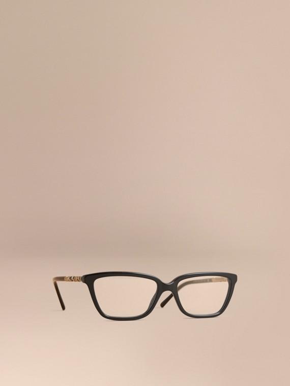 Gafas de ver rectangulares con montura de ojo de gato y detalle a cuadros