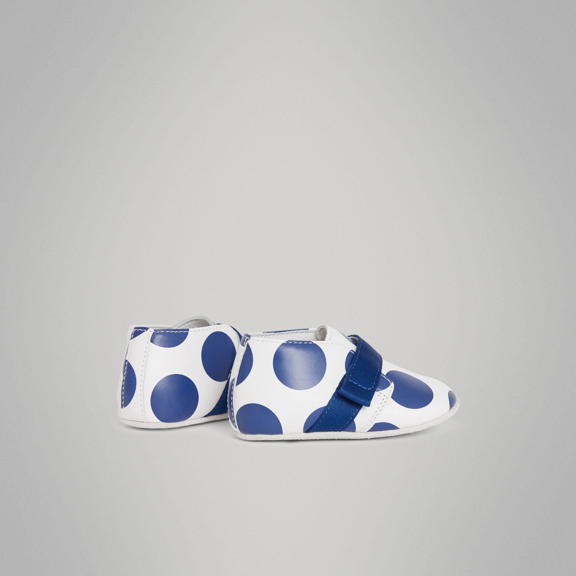 Spot Print Leather Shoes in Bright Blue - Children | Burberry Australia - gallery image 2