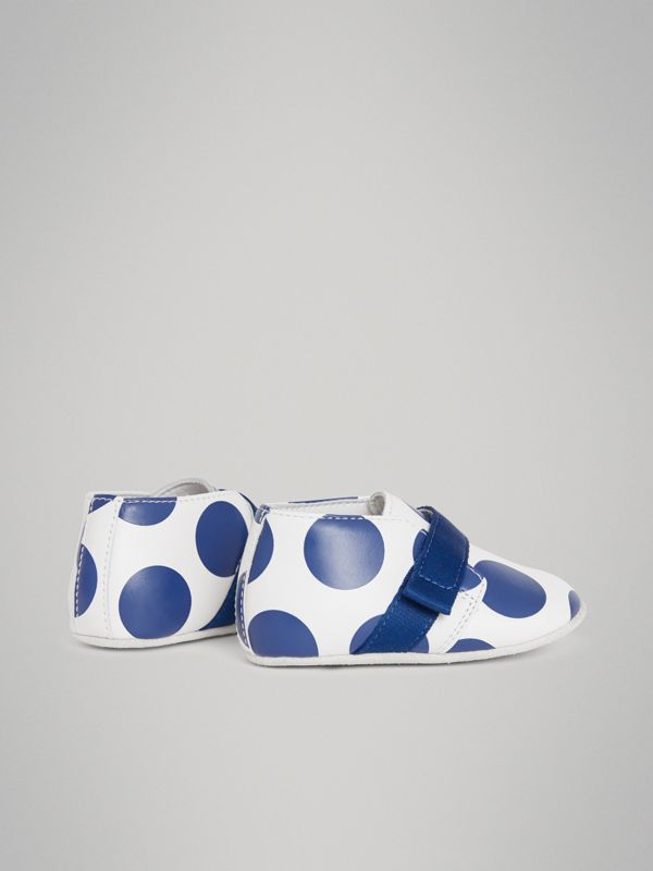 Spot Print Leather Shoes in Bright Blue - Children | Burberry Australia - cell image 2