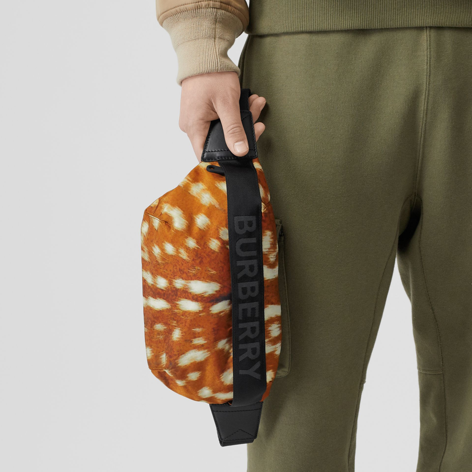 Medium Deer Print Nylon Bum Bag in Honey - Women | Burberry - gallery image 3