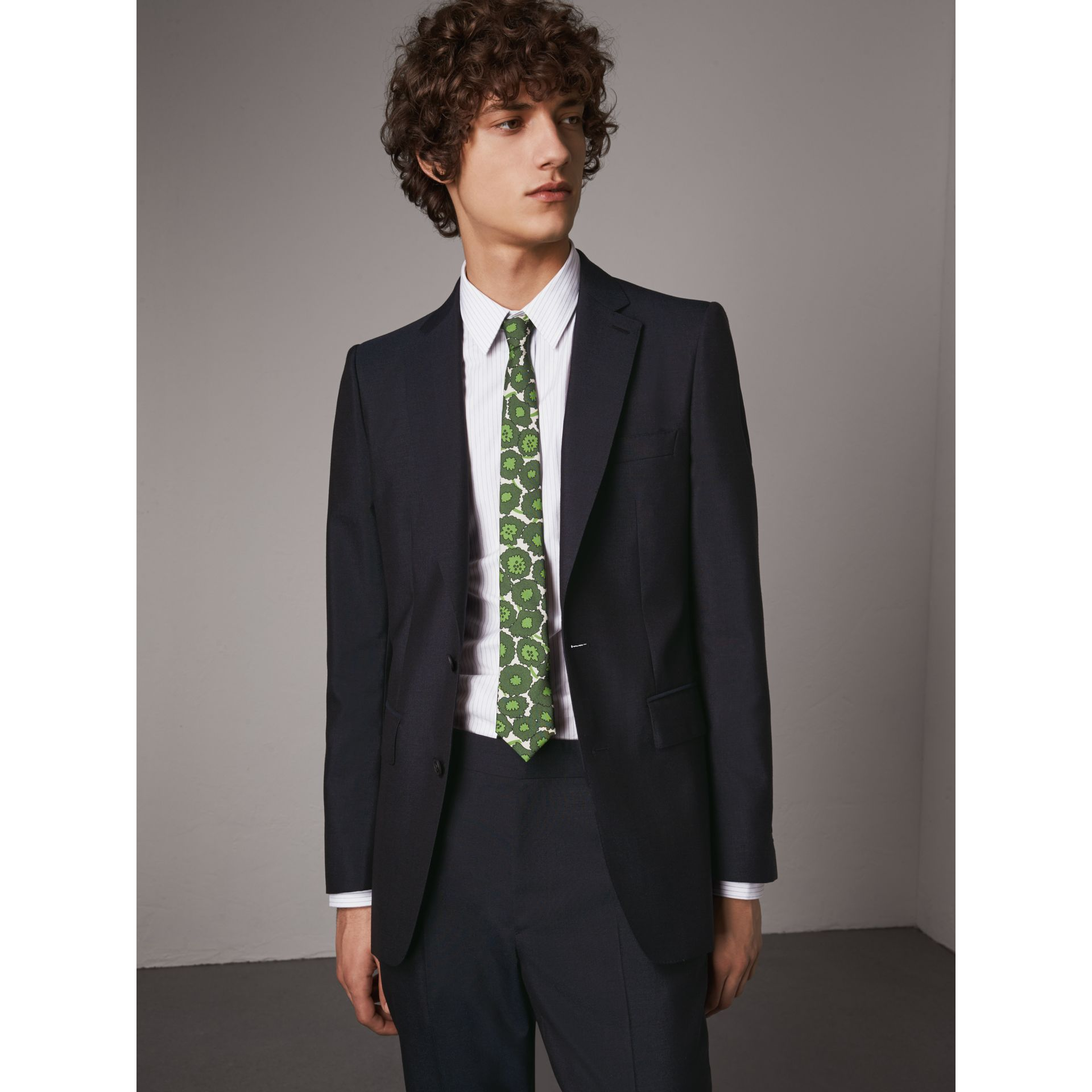 Slim Fit Mohair Suit in Navy - Men | Burberry - gallery image 5