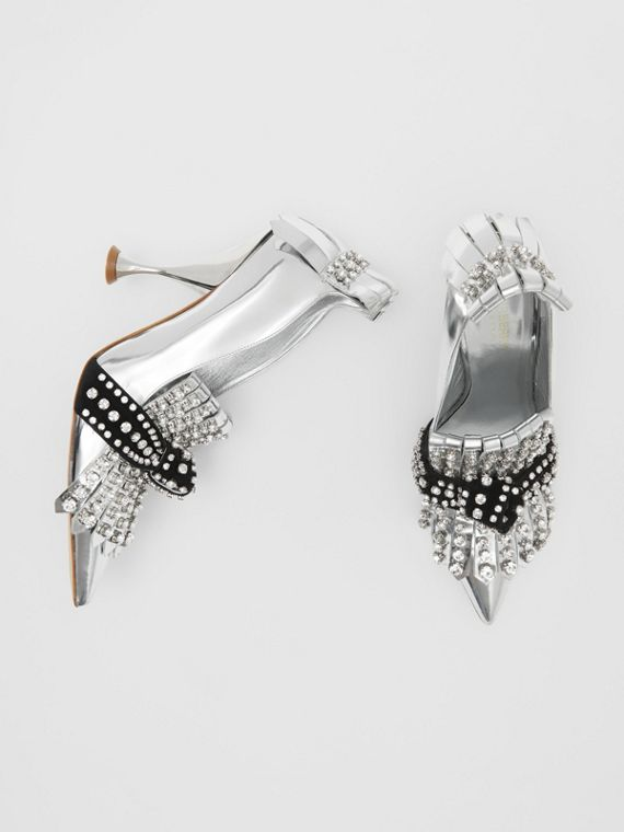 Crystal Kiltie Fringe Metallic Leather Point-toe Pumps in Silver/black