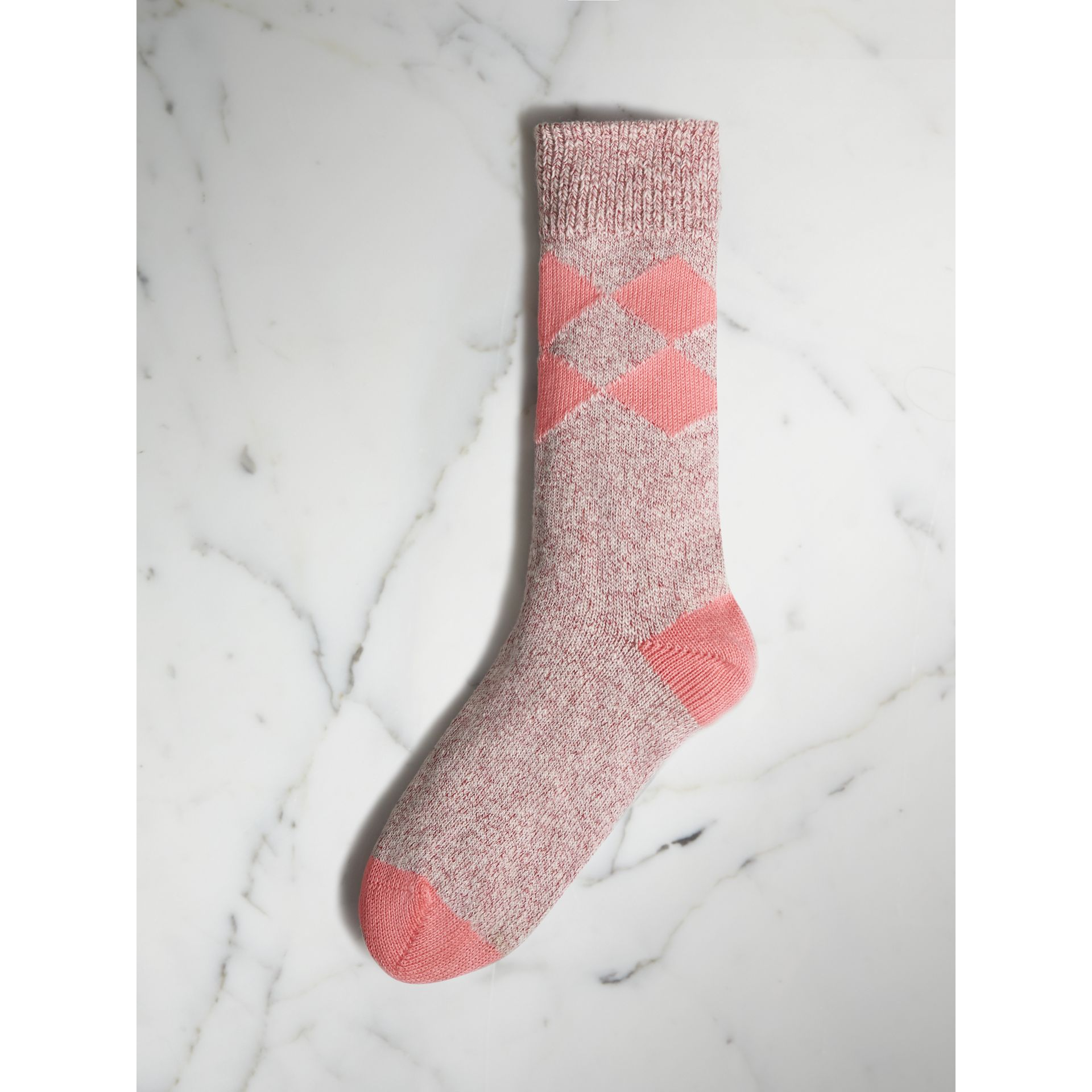 Diamond Knitted Cotton Mouliné Socks in Rose Pink | Burberry - gallery image 1