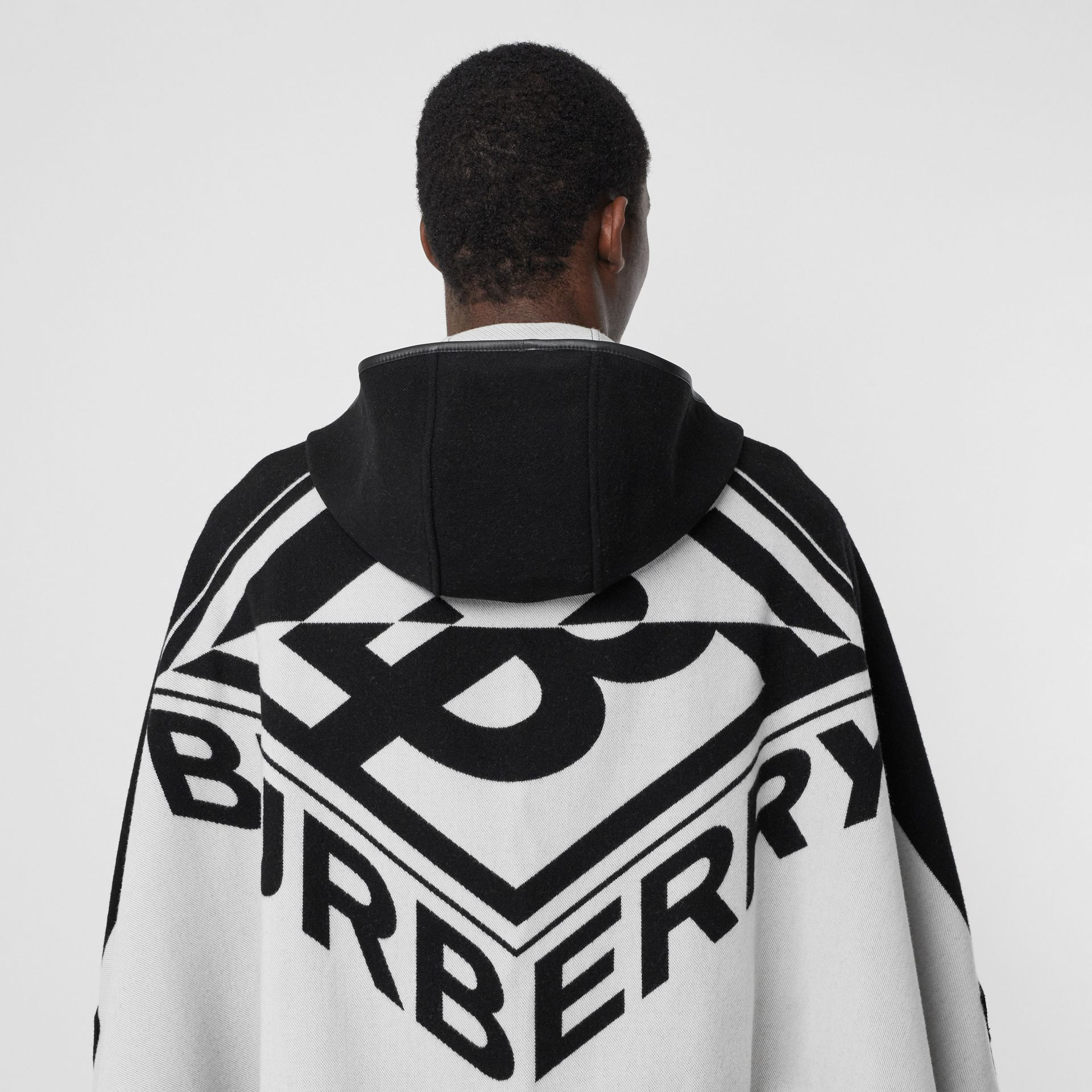 Logo Graphic Wool Cotton Jacquard Hooded Cape in Black/white | Burberry United States - gallery image 1