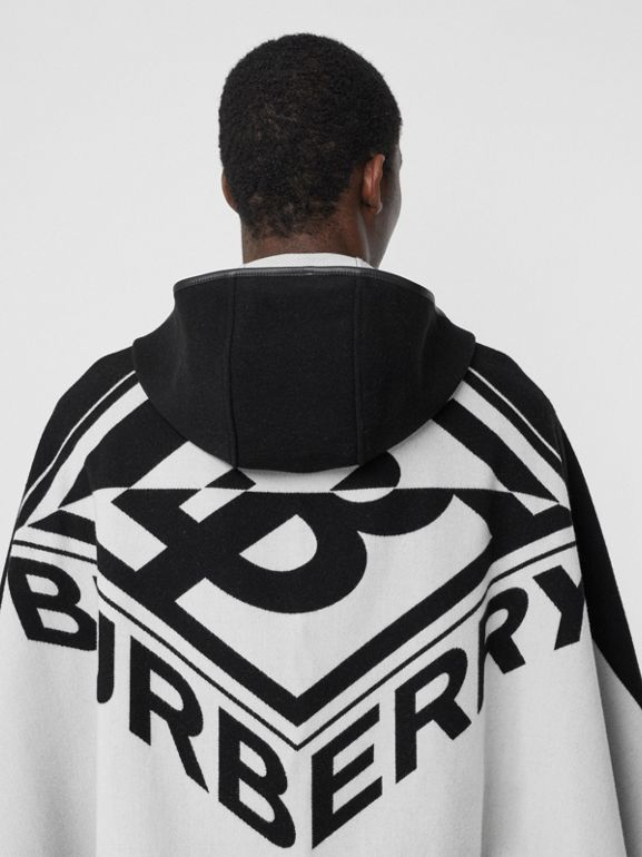 Logo Graphic Wool Cotton Jacquard Hooded Cape in Black/white | Burberry United States - cell image 1