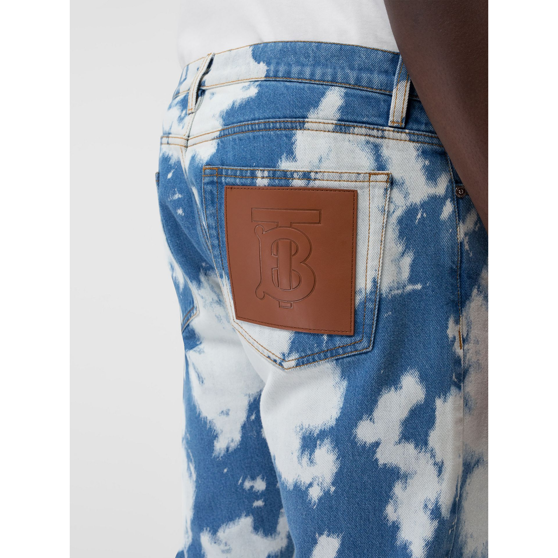 Straight Fit Monogram Motif Bleached Denim Jeans in Light Indigo - Men | Burberry - gallery image 1
