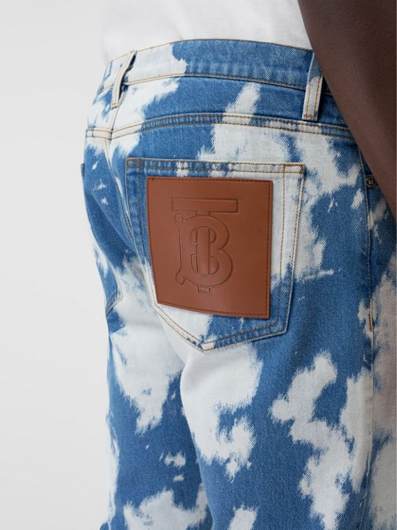 Straight Fit Monogram Motif Bleached Denim Jeans in Light Indigo - Men | Burberry - cell image 1