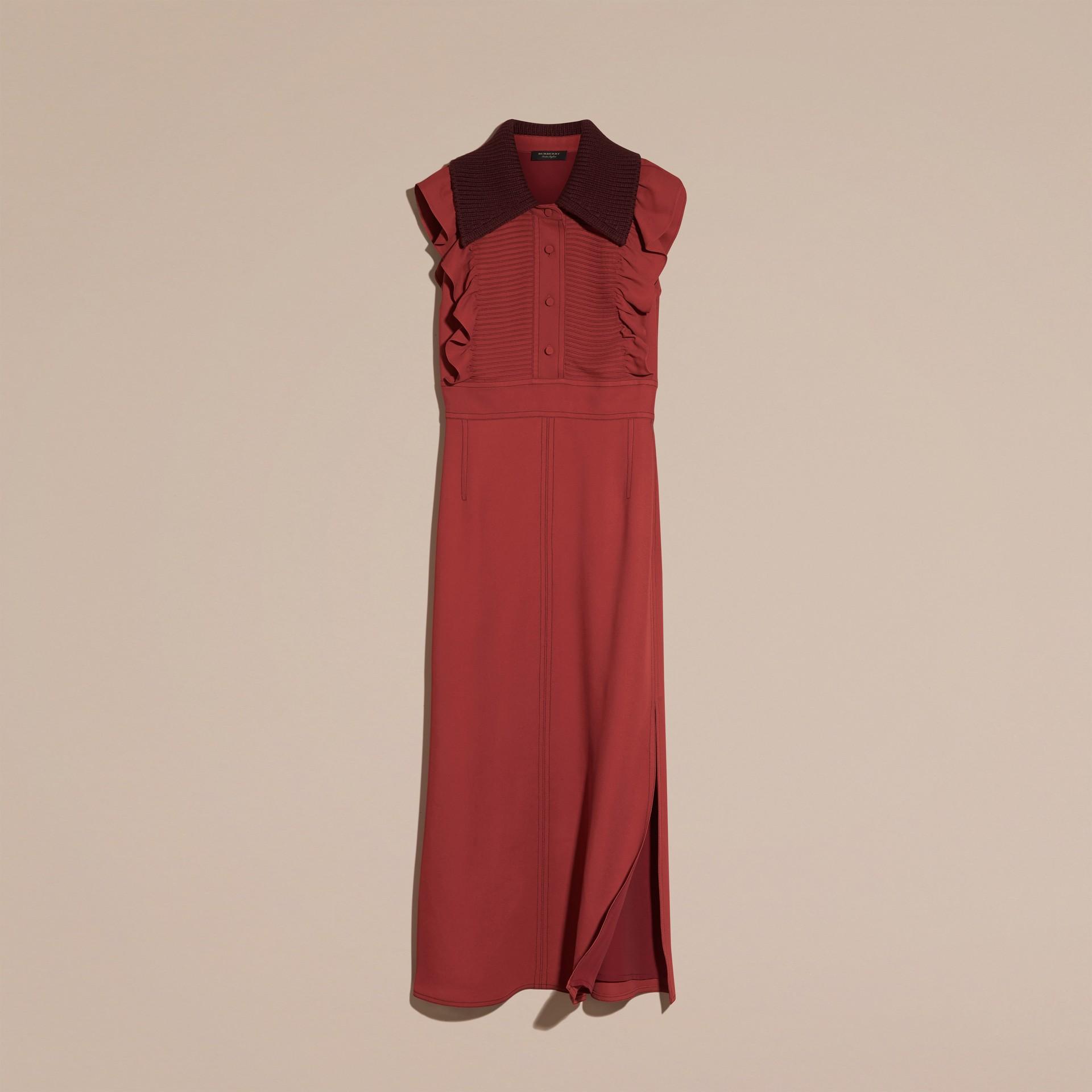 Vermelho canela Vestido camisa com pregas e babados - galeria de imagens 4