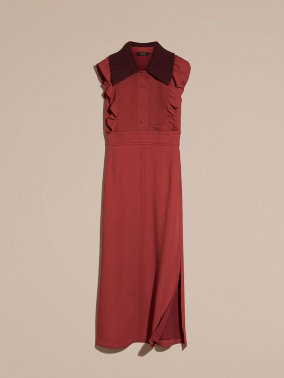 Cinnamon red Pintuck and Ruffle Shirt Dress - cell image 3