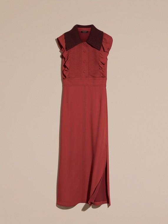 Vermelho canela Vestido camisa com pregas e babados - cell image 3
