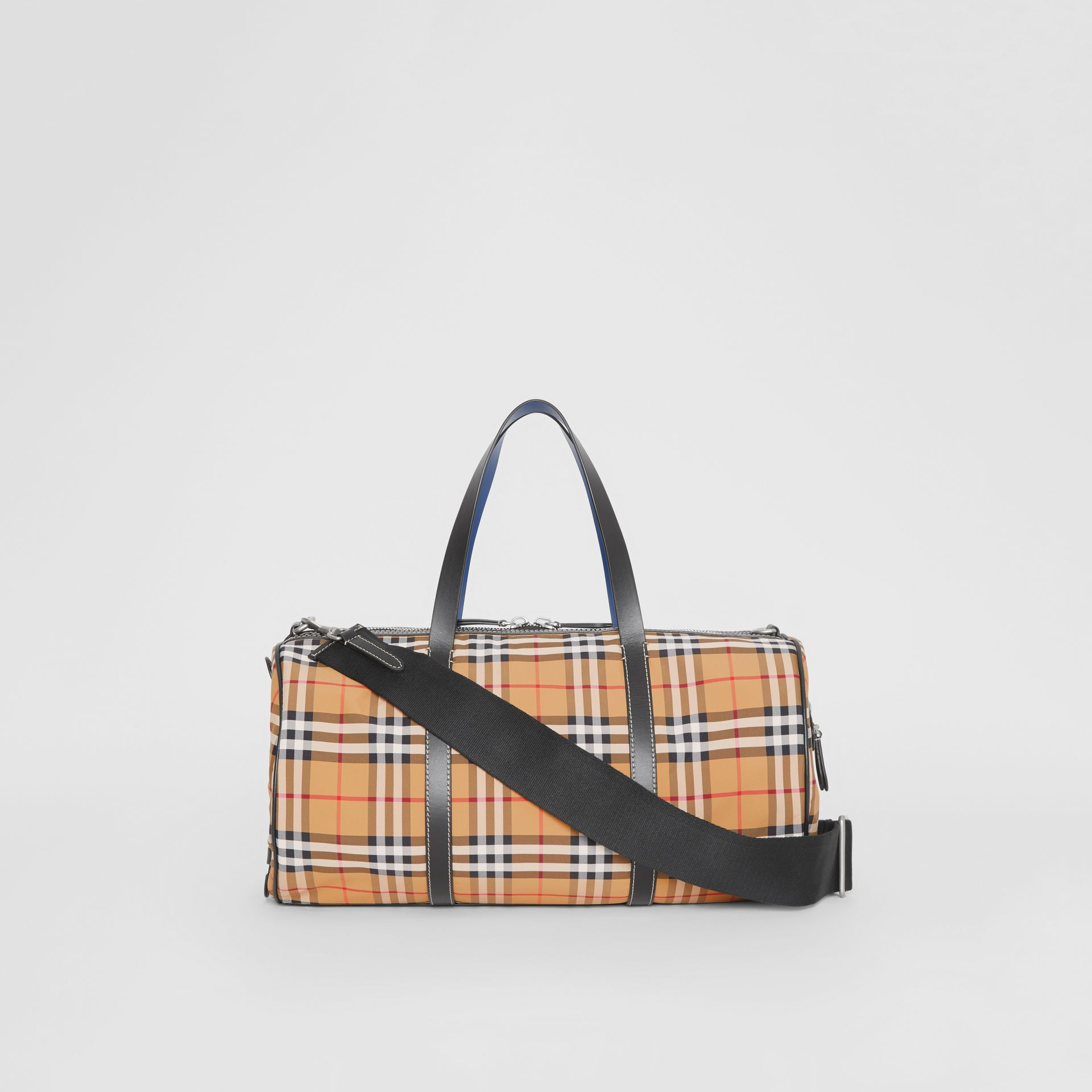 Medium Vintage Check and Leather Barrel Bag in Antique Yellow - Men | Burberry United Kingdom - gallery image 7