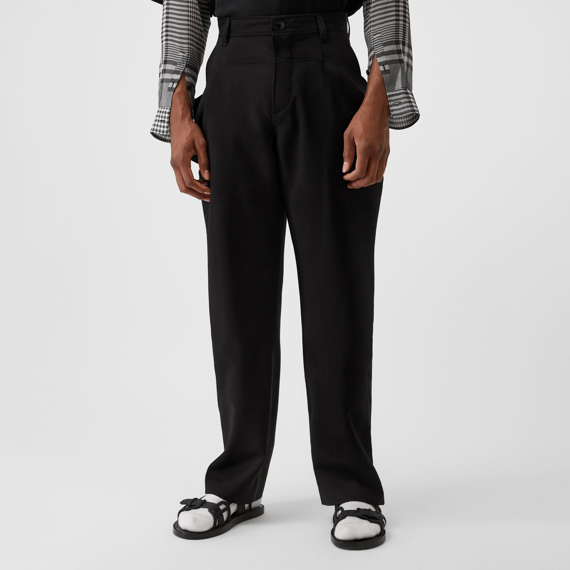 Press-stud Detail Mohair Wool Tailored Trousers in Black | Burberry - gallery image 4