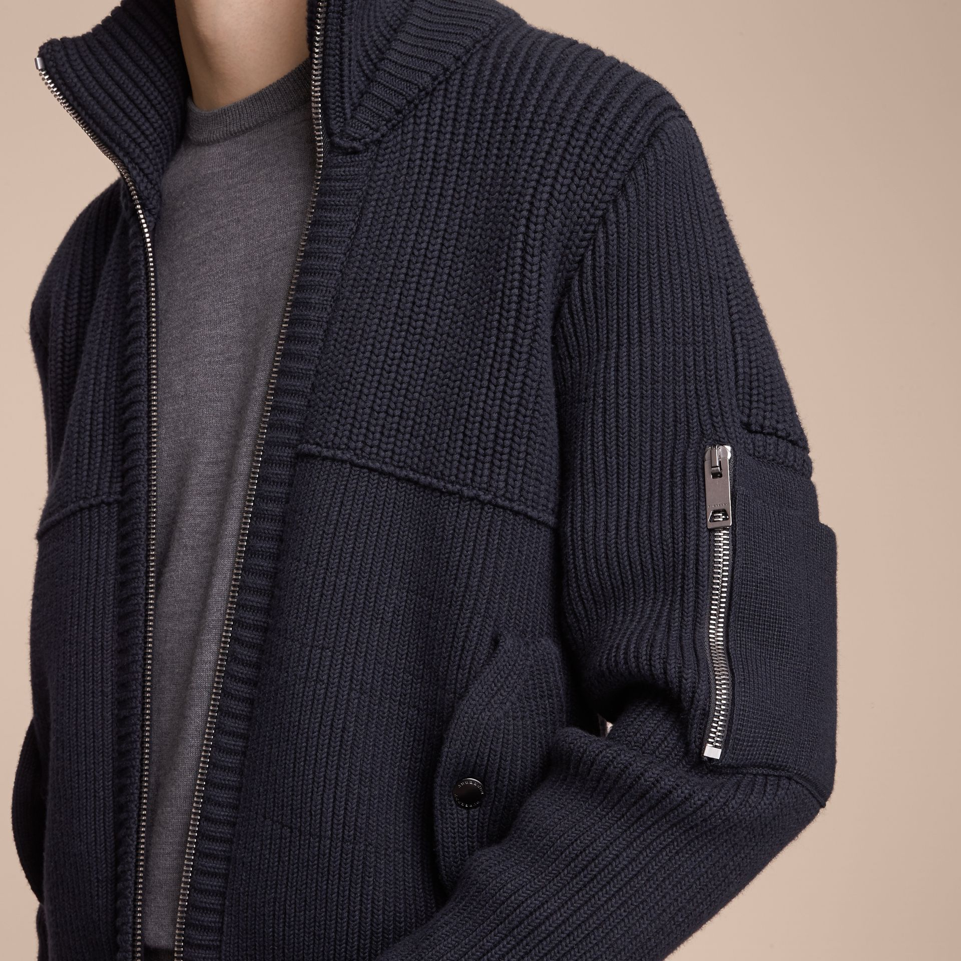 Knitted Cotton Cashmere Flight Jacket in Navy - Men | Burberry Australia - gallery image 5