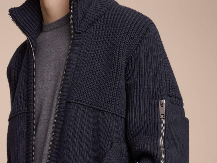 Knitted Cotton Cashmere Flight Jacket in Navy - Men | Burberry - cell image 4