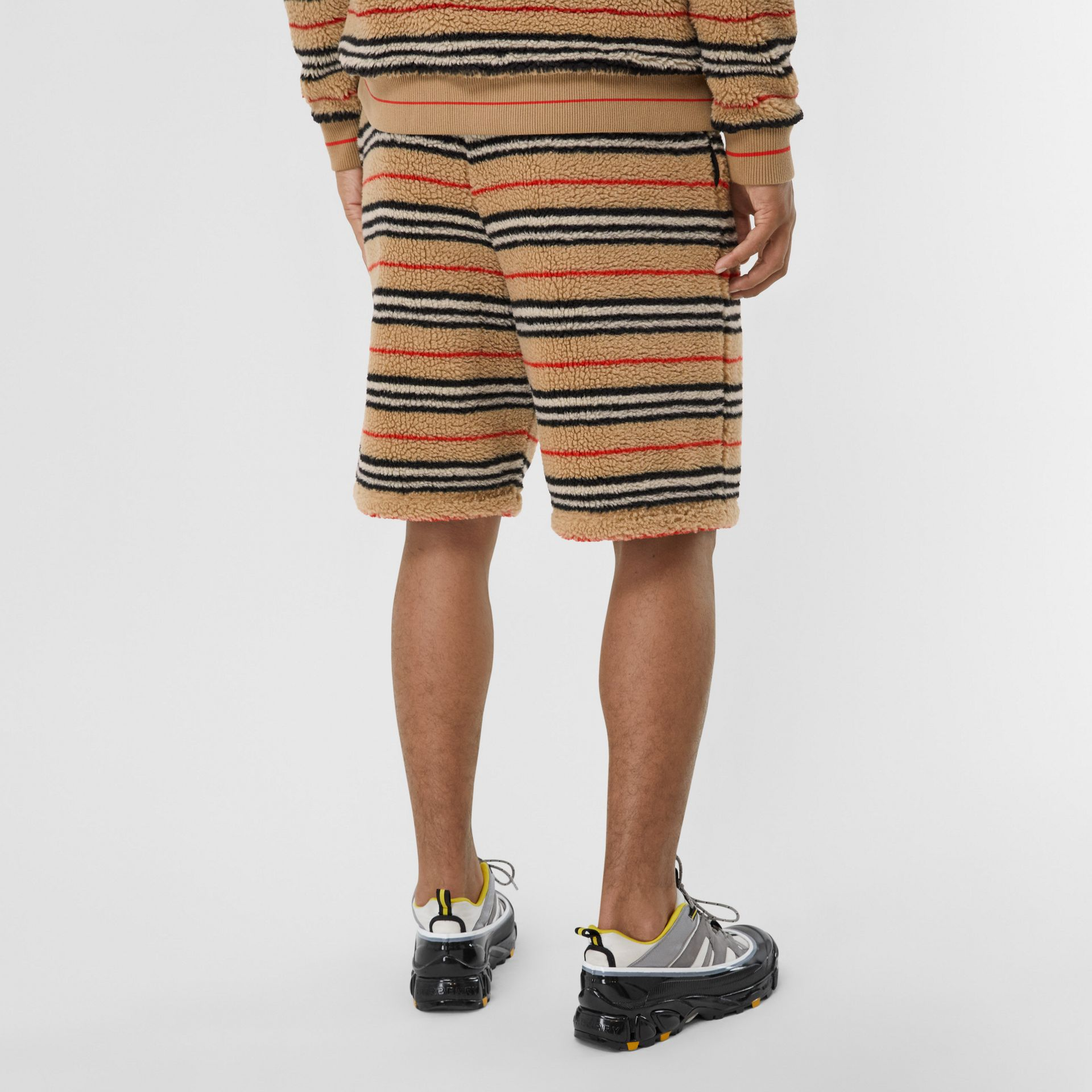 Icon Stripe Fleece Drawcord Shorts in Archive Beige - Men | Burberry - gallery image 2