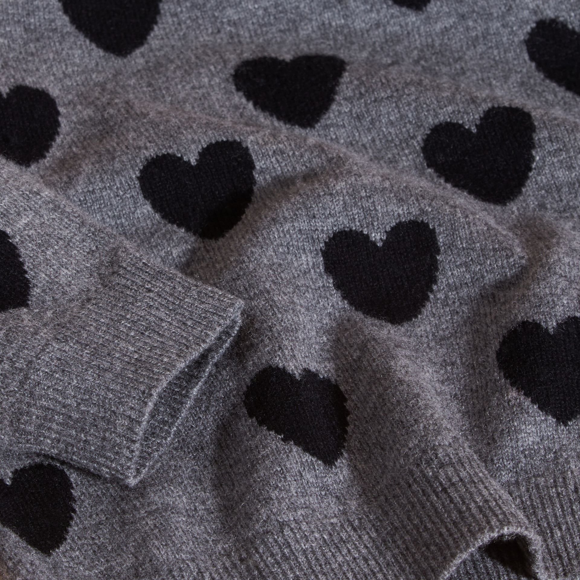 Black Heart Intarsia Wool Cashmere Sweater - gallery image 2