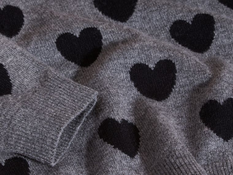Black Heart Intarsia Wool Cashmere Sweater - cell image 1