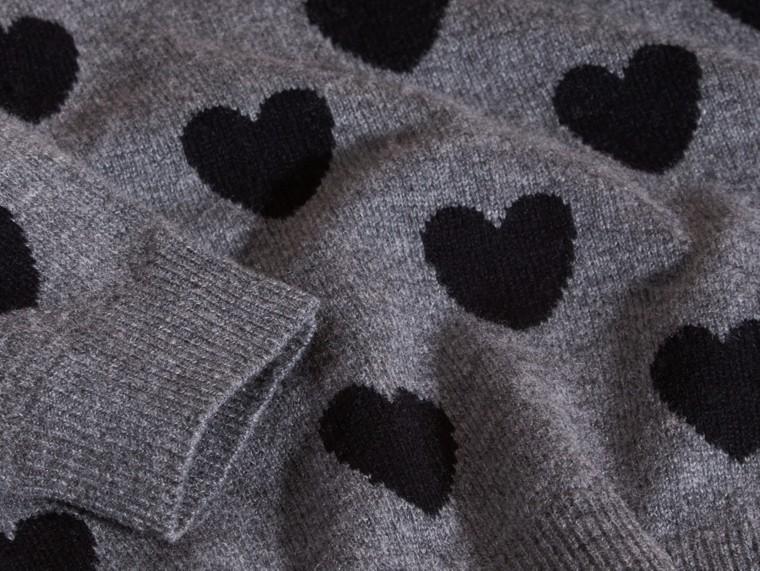 Preto Suéter de lã e cashmere com corações em ponto de tricô intársia - cell image 1