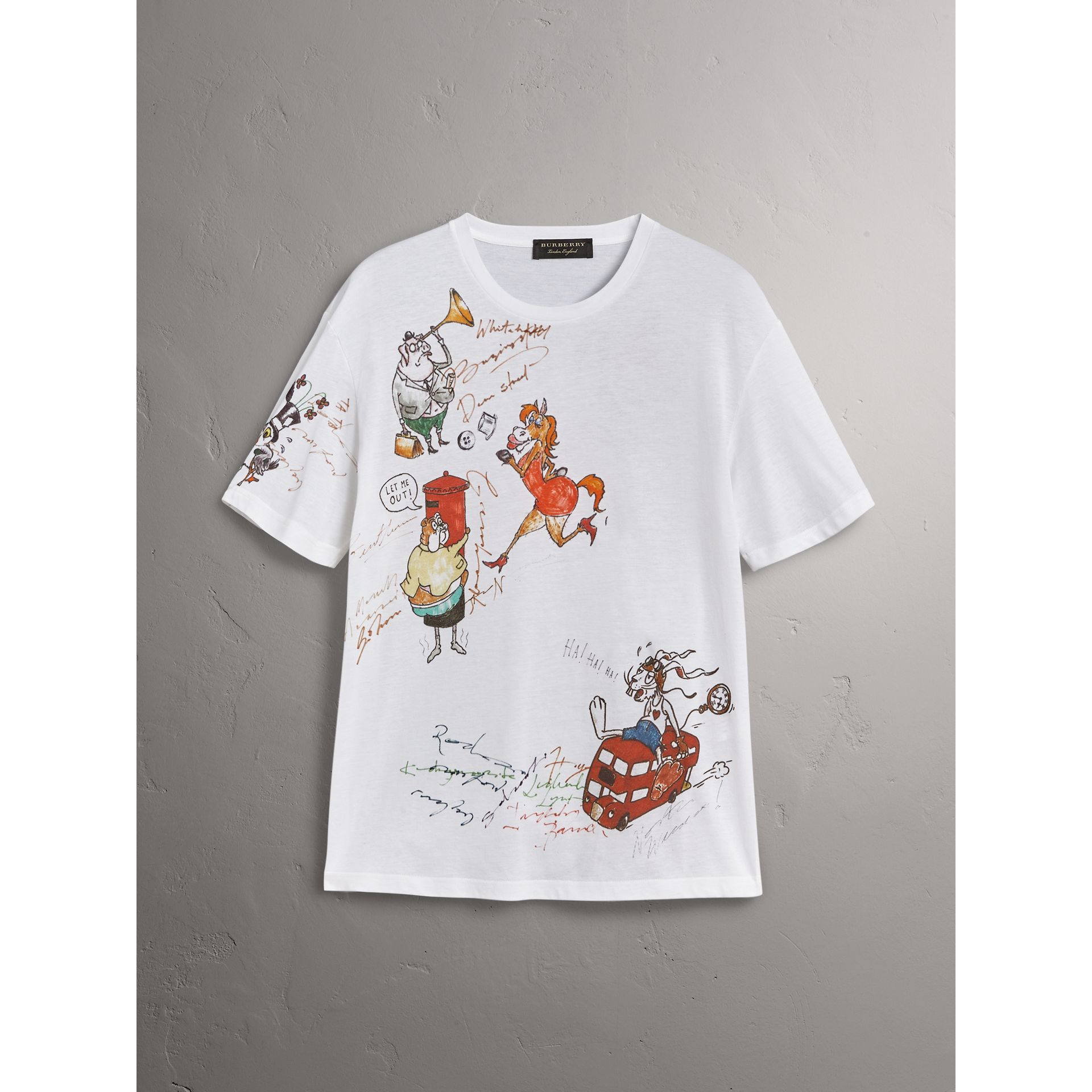 Sketch Print Cotton T-shirt in White - Women | Burberry - gallery image 3