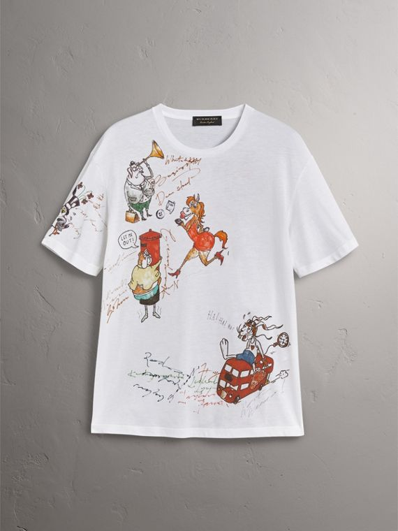 Sketch Print Cotton T-shirt in White - Women | Burberry United States - cell image 3