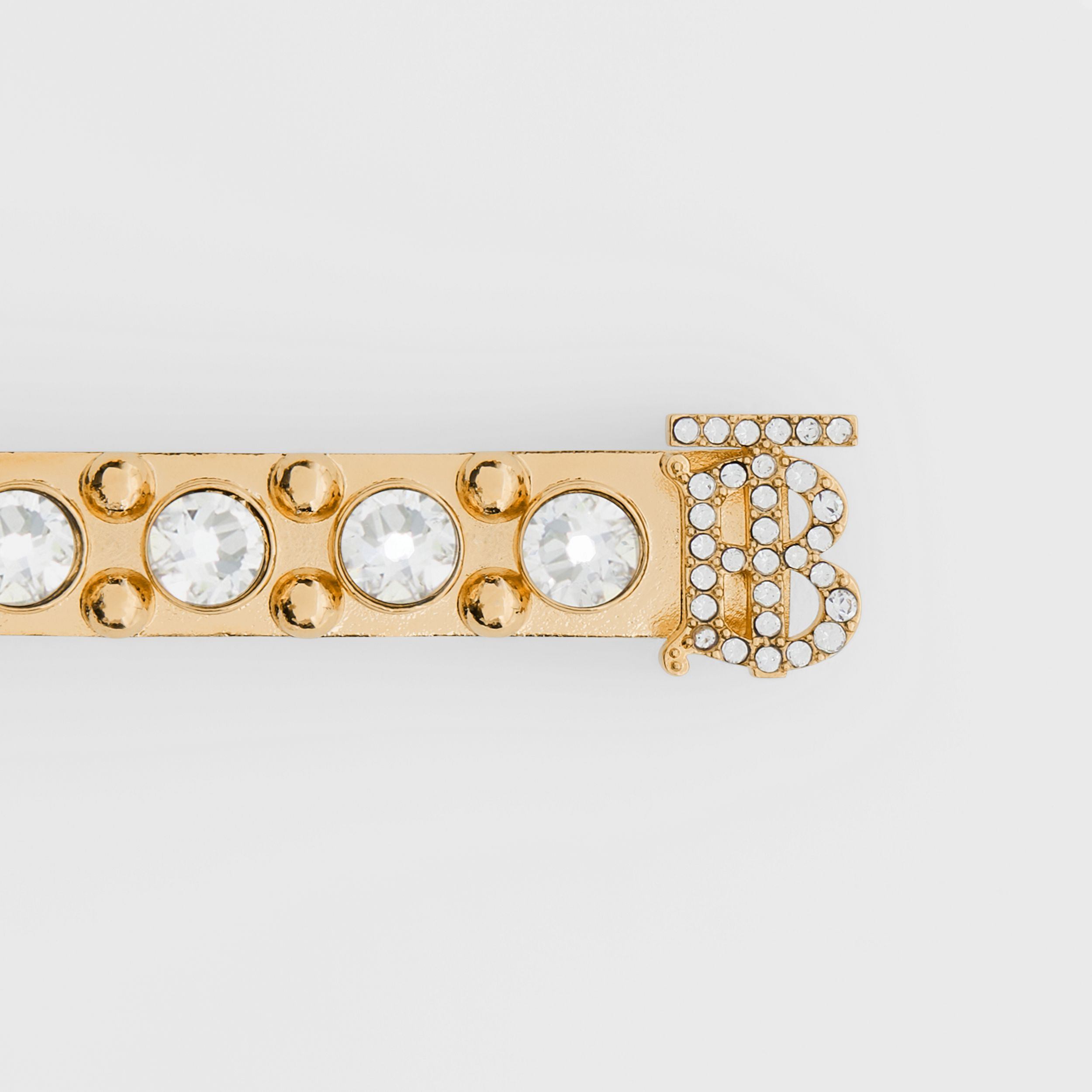 Crystal Monogram Motif Gold-plated Barrette in Light | Burberry - 4