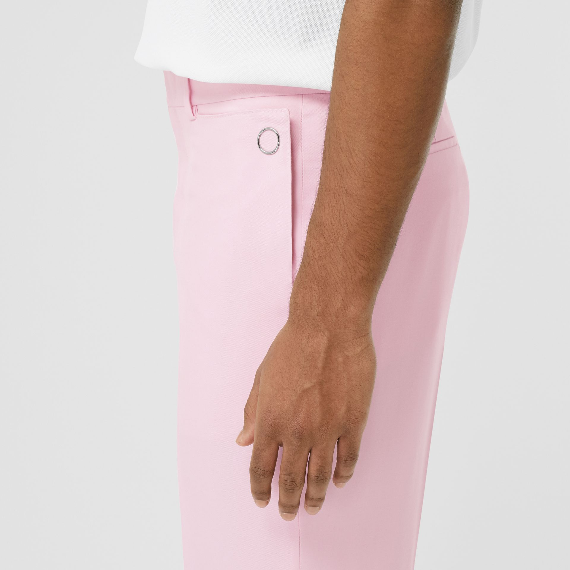 Tumbled Wool Wide-leg Tailored Trousers in Candy Pink - Men | Burberry - gallery image 1