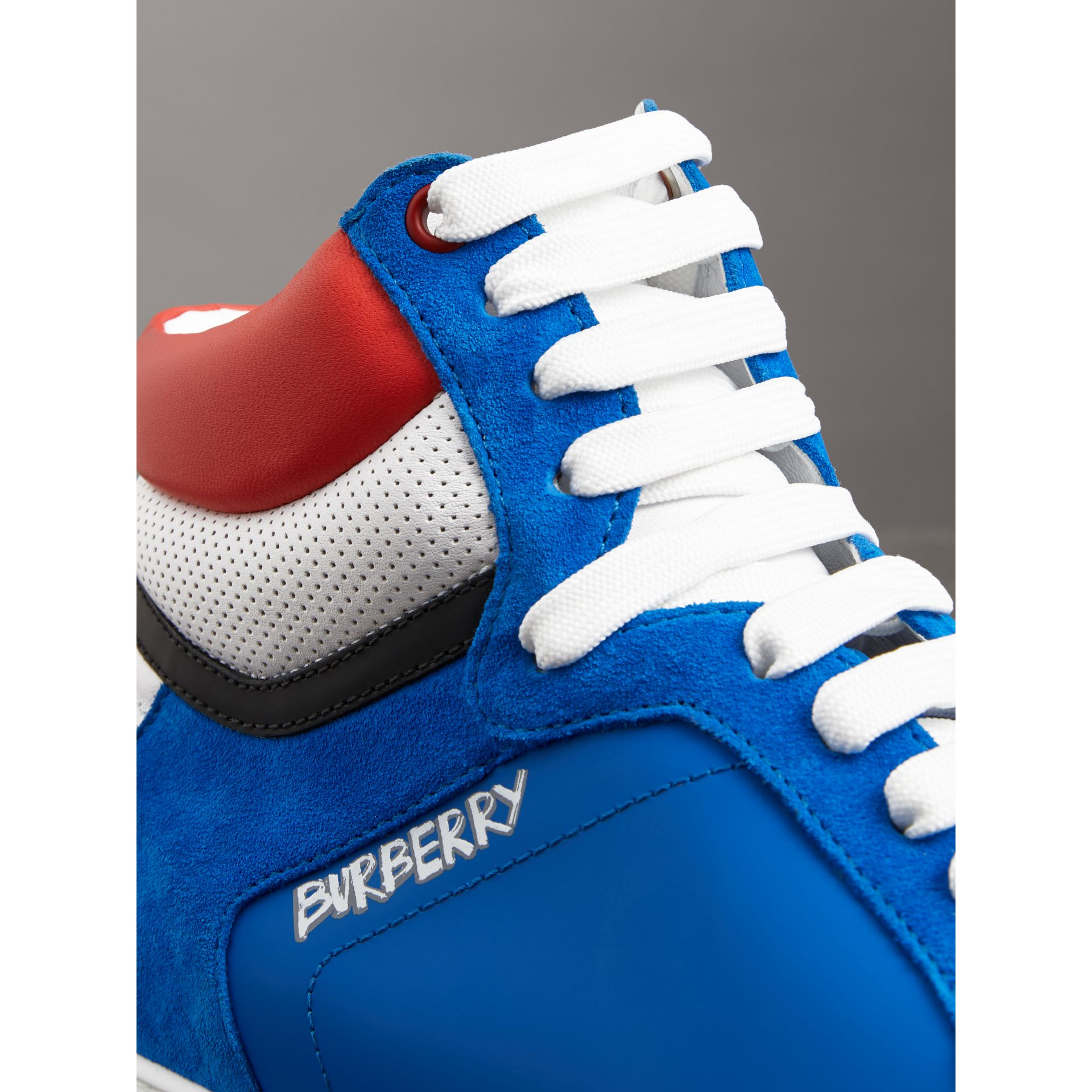 Leather and Suede High-top Sneakers in Bright Sky Blue - Men | Burberry - gallery image 1
