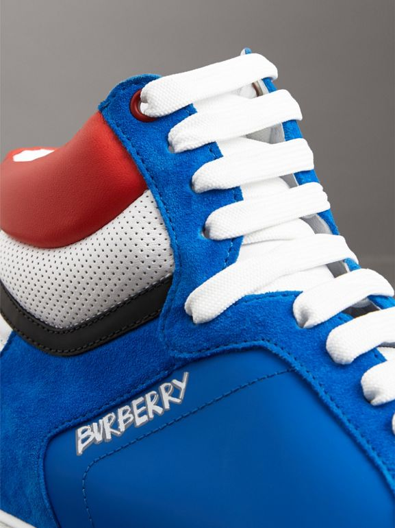 Leather and Suede High-top Sneakers in Bright Sky Blue - Men | Burberry - cell image 1