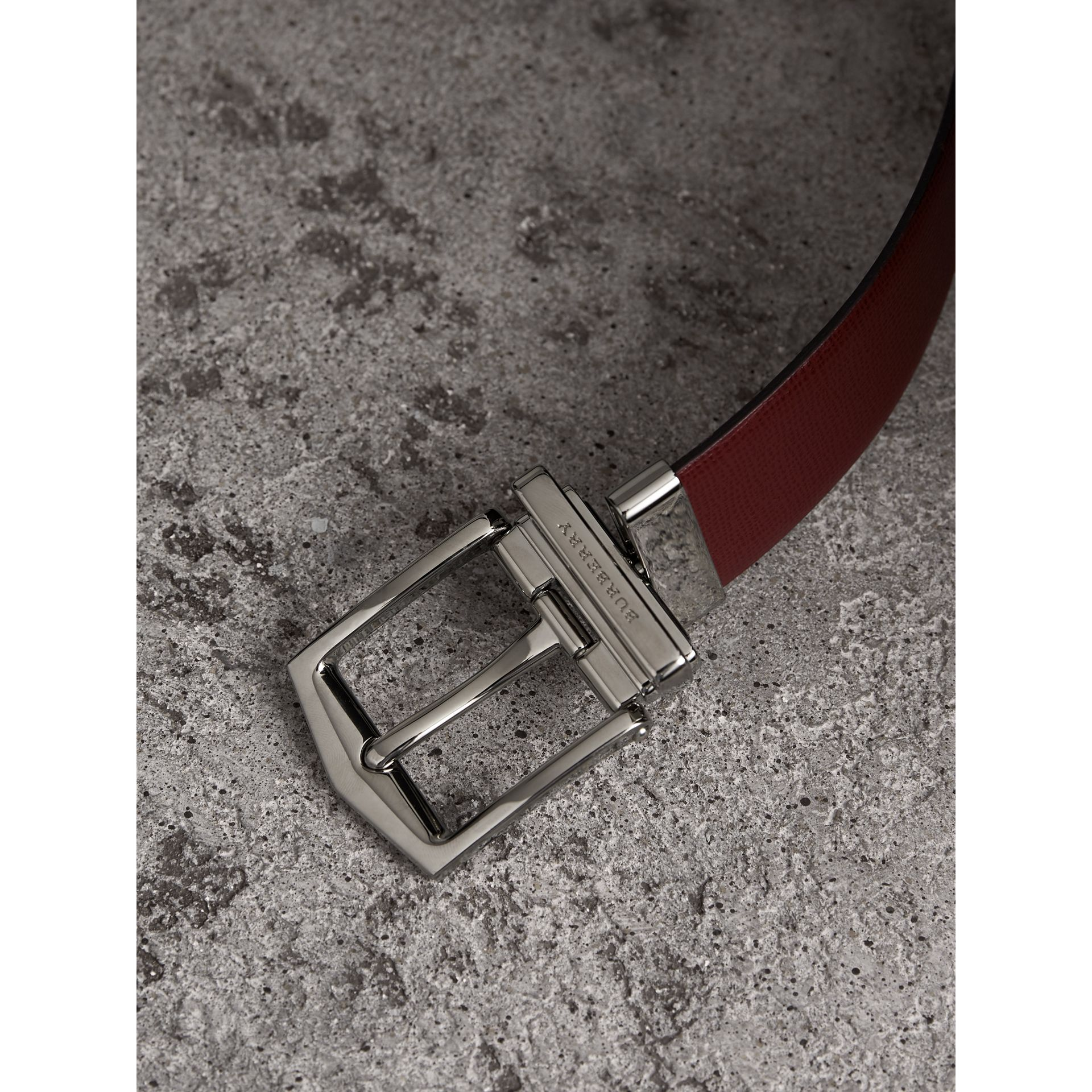 Reversible London Leather Belt in Burgundy Red/black - Men | Burberry United Kingdom - gallery image 1