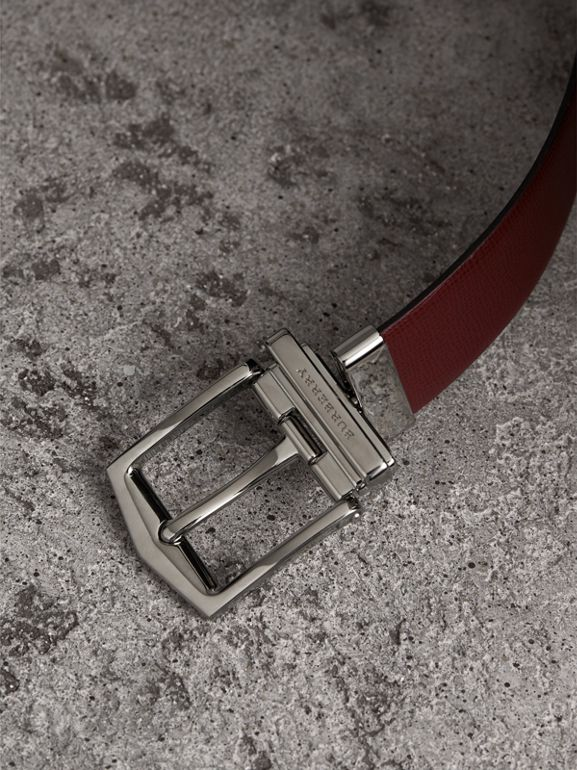 Reversible London Leather Belt in Burgundy Red/black - Men | Burberry Canada - cell image 1