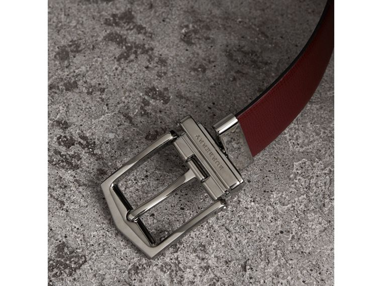 Reversible London Leather Belt in Burgundy Red/black - Men | Burberry United Kingdom - cell image 1