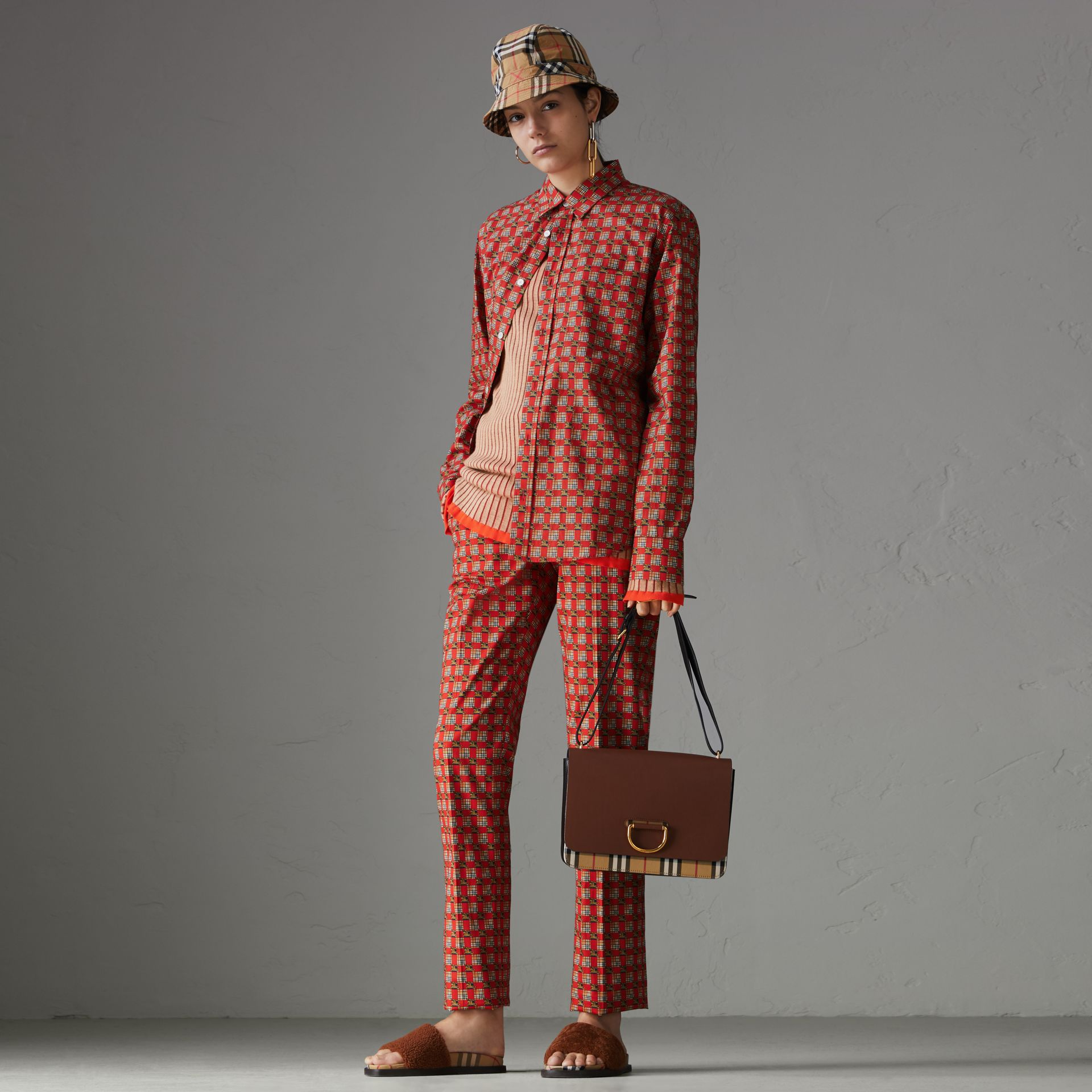 Tiled Archive Print Stretch Cotton Cigarette Trousers in Orange Red - Women | Burberry Australia - gallery image 0